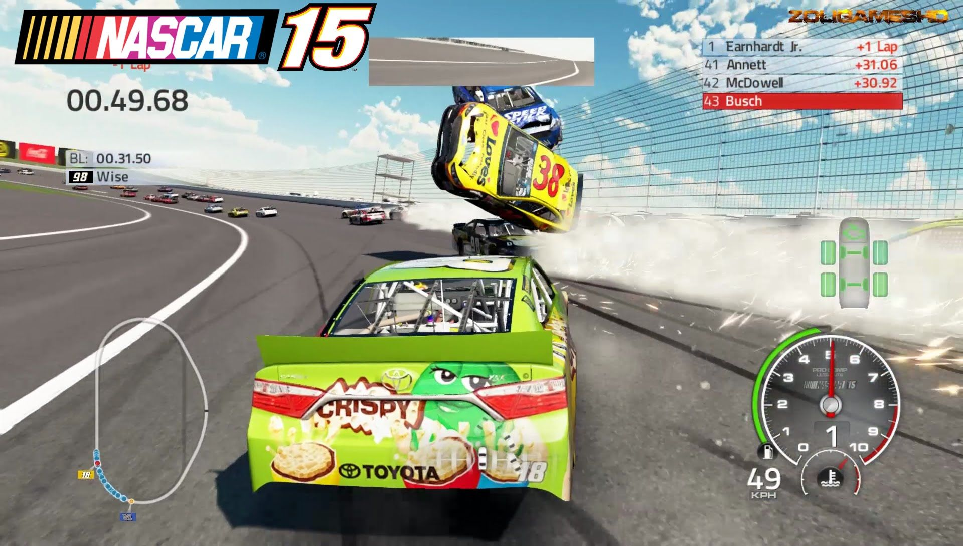 Best Crashes in a Circle Simulator Nascar'15 The Game