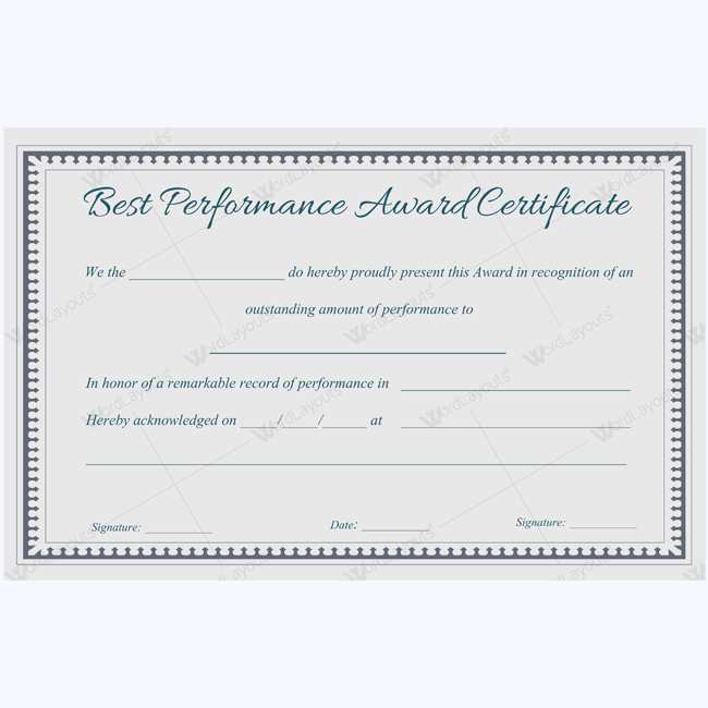 Best Performance Award Certificate   Certificate Teacher And