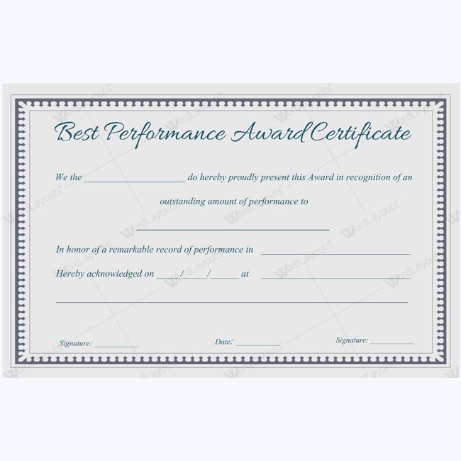 Best Performance Award Certificate Template For Students – Performance Certificate Template