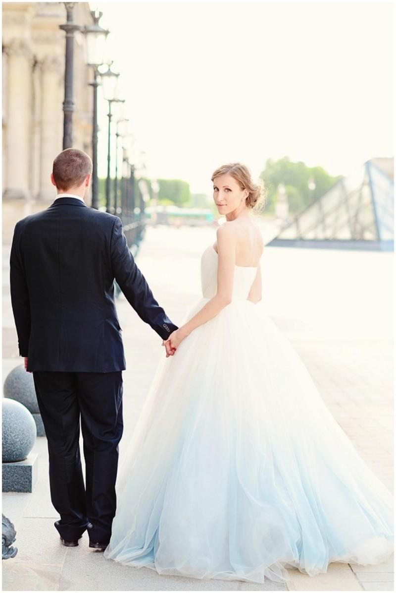 Ombre wedding dress light blue white sweetheart backless color tulle