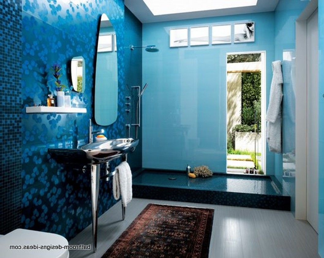 astounding cute bathroom ideas blue wall porcelain tile decoration ...