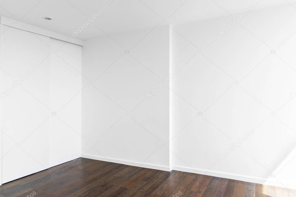 Empty White Wall In Room With Wooden Floor Abstract And Archite