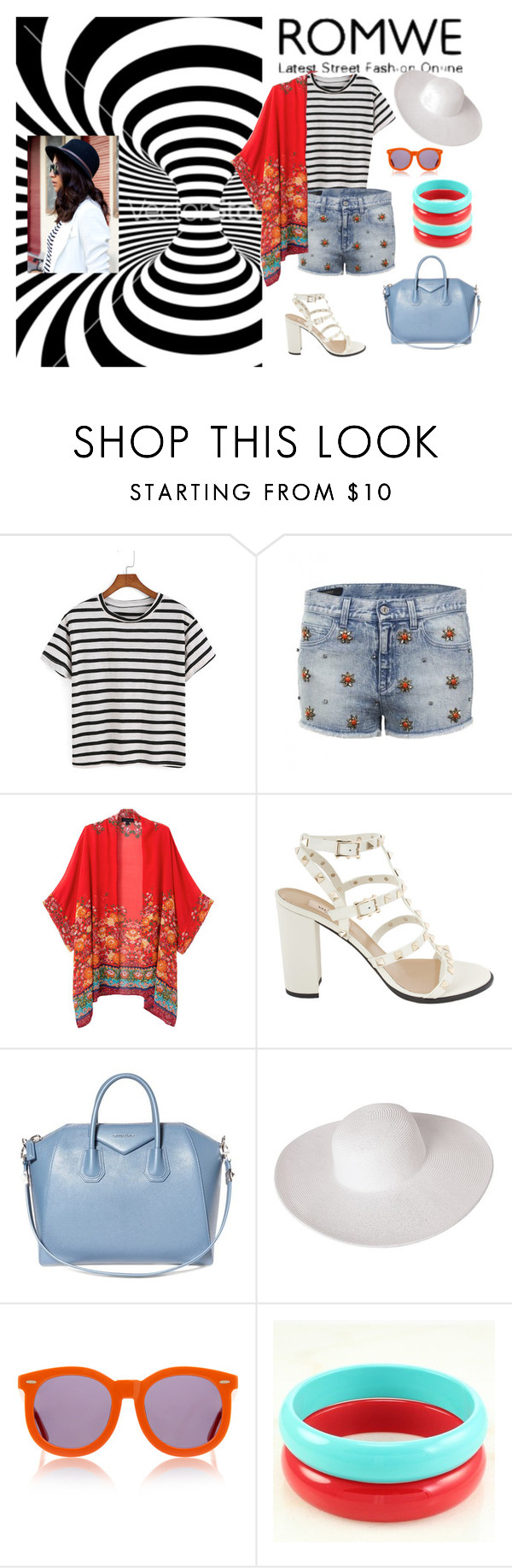 """Striped"" by elza-345 ❤ liked on Polyvore featuring Gucci, WithChic, Valentino, Givenchy, Dorfman Pacific and Karen Walker"