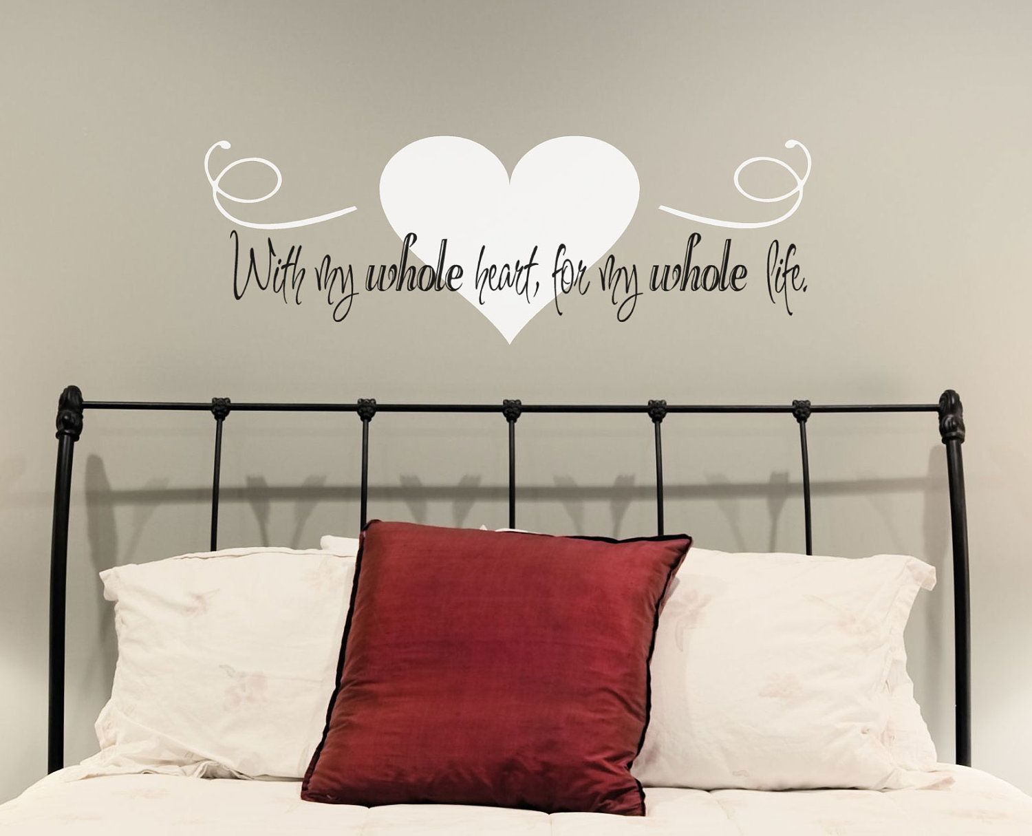 Wall words love quote with my whole heart for my whole for Bedroom vinyl quotes