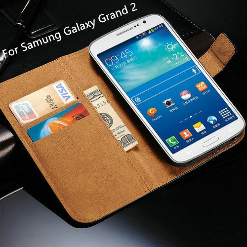 G710 For Samsung Galaxy Grand 2 Leather Case Book Style Stand Phone Flip Card Slot Wallet Cover black Cases 710 G7102 SM 7102