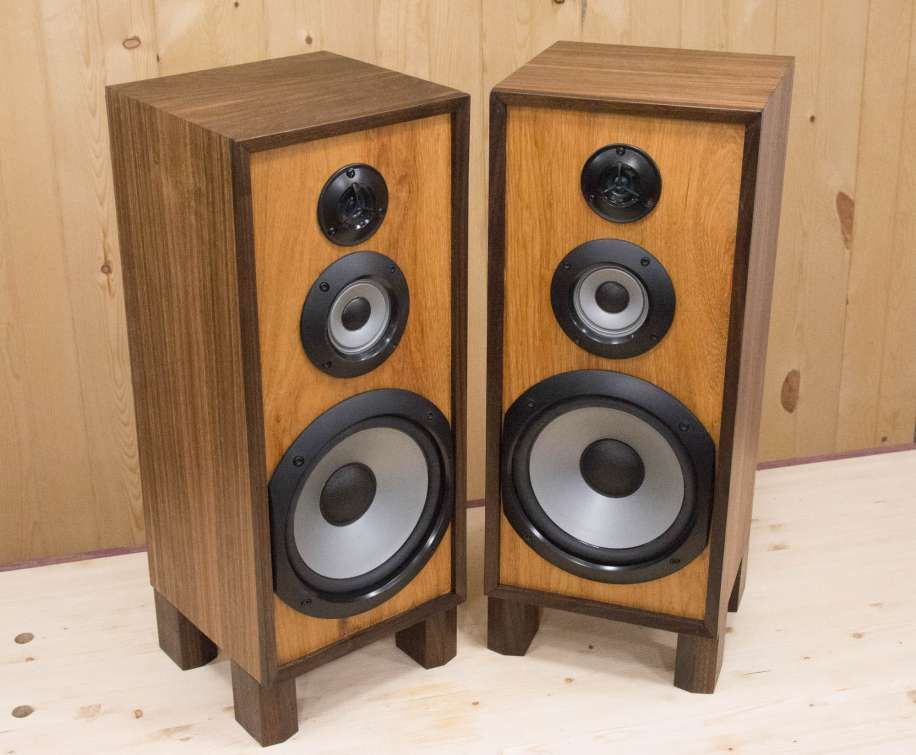 Gutting And Rebuilding Sony Speakers With Walnut And Hickory Woods Sony Speakers Speaker Cabinet Speaker