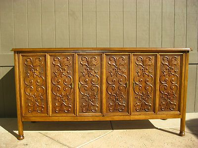 GORGEOUS Vintage Spanish Style BUFFET Drexel Heritage Carved Sideboard Credenza