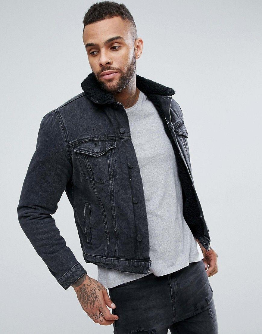 New look fleece lined denim jacket in black black products