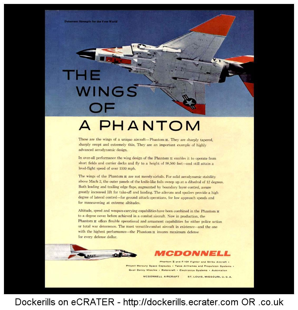 McDonnell Phantom II Advert - Wings Of A Phantom. From Interavia Magazine, 1961.