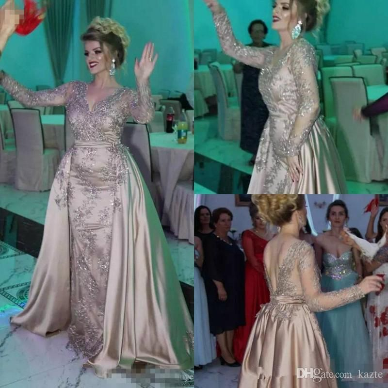 Elie Saab Dubai Long Sleeve Evening Dresses Detachable Train Nigeria Lace  Appliques Mermaid Prom Dresses 2018 13ed2901b3ed