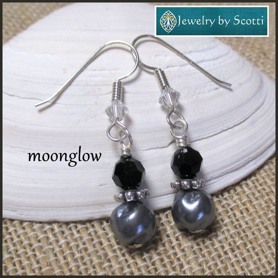 Black Crystal Silver Pearl Earrings with by JewelryByScotti