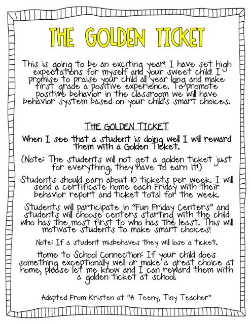 How Does Classroom Design And Organization Support Learning And Positive Behavior ~ Golden ticket idea for promoting positive behavior