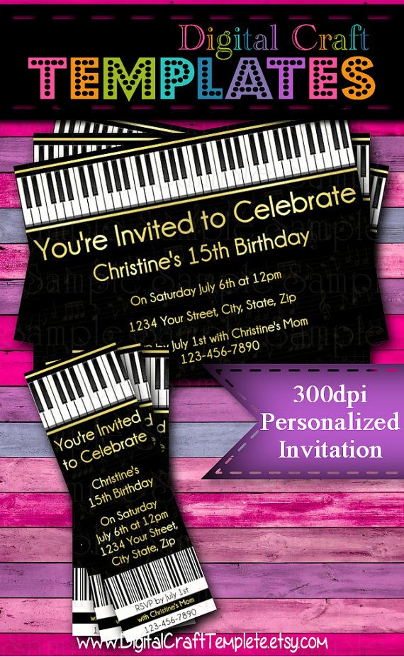 DIY Piano Invitations Instant Download Musical Birthday