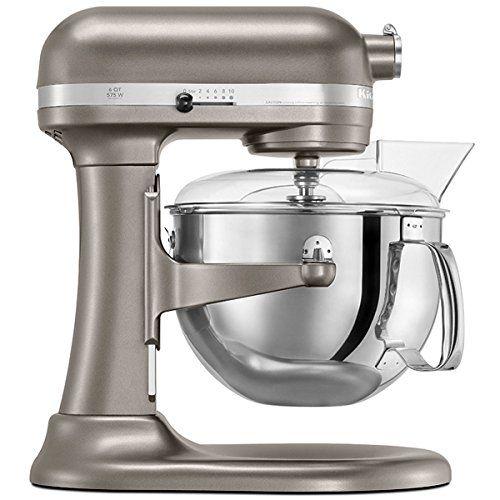 KitchenAid 4KP26M1XNP Professional 600 Series 6 Quart Bowl Lift Stand Mixer,  Nickel Pearl