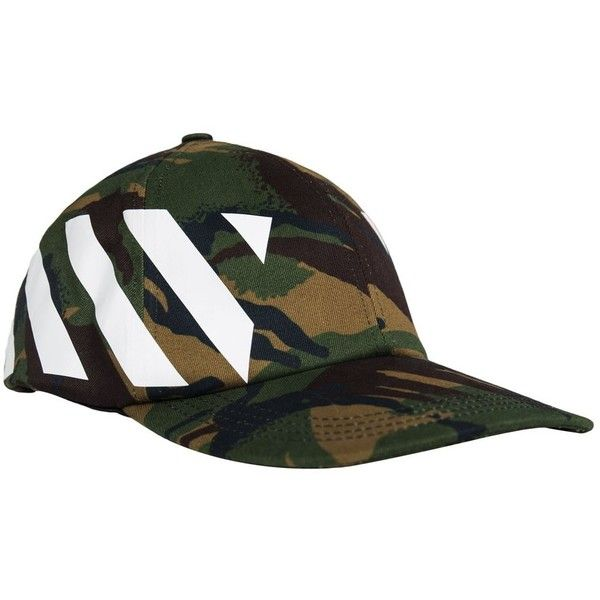 Off White Diag Camo Cap (Camo) ❤ liked on Polyvore featuring accessories 2f4cb241db6