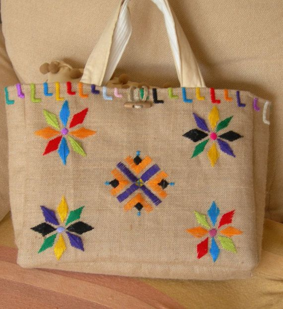 Bolso de arpillera por ArtsAnA en Etsy | Bolso bordado