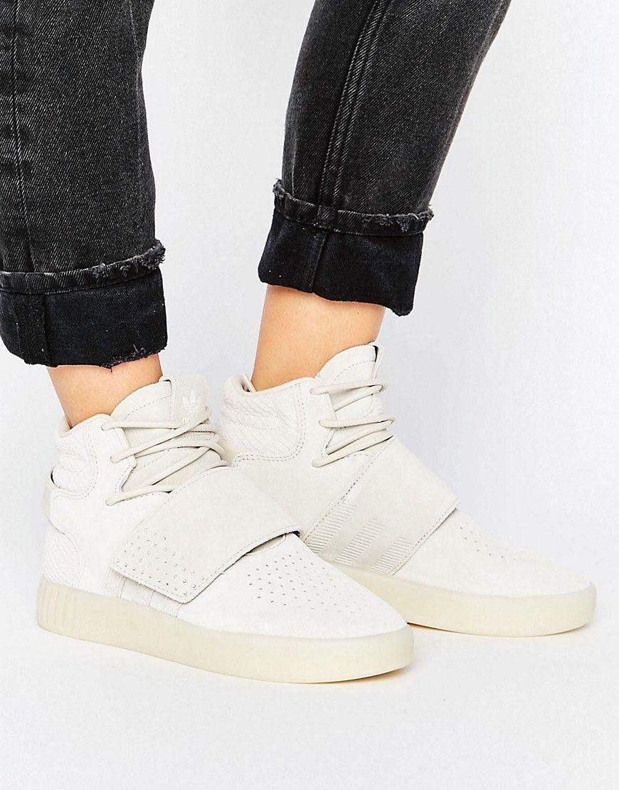 adidas originals beige tubular invader strap sneakers