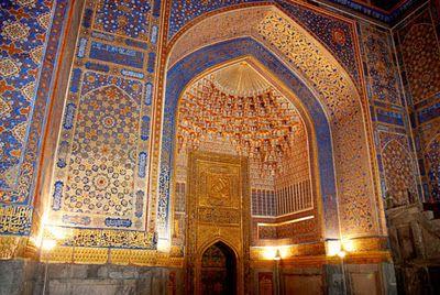 UNESCO World Heritage Site - Samarkand, Uzbekistan - Interior view of the Tiyal-Kori Mosque