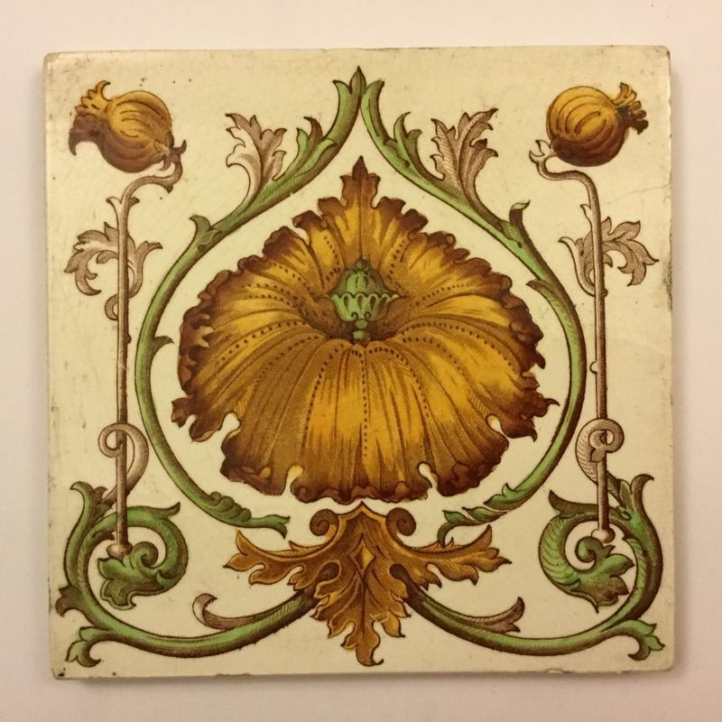 Art Nouveau Inspired California Poppy By Mason Larose: An Edwardian Tile Decorated With A Striking Art Nouveau