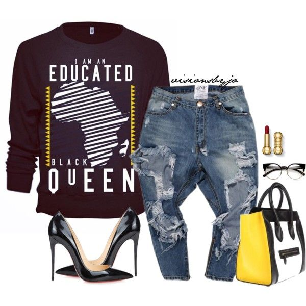 A fashion look from January 2017 featuring Christian Louboutin pumps e CÉLINE tote bags. Browse and shop related looks.