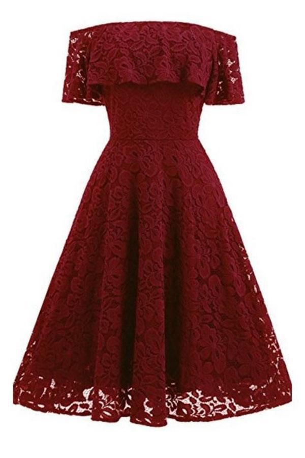 A Line Lace Strapless Off the Shoulder Burgundy Vintage Knee Length Homecoming Dress JS688 - Off shoulder lace dress, Women lace dress, Short lace dress, Off shoulder cocktail dress, Cocktail dress lace, Prom dresses short - A Line Lace Strapless Off the Shoulder Burgundy Vintage Knee Length Homecoming Dress JS688, SJS, This dress could be custom made, there are no extra cost to do custom size and color