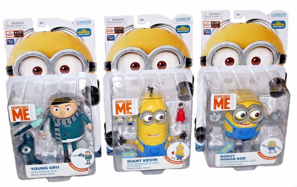 Deluxe Minion Action Figures Young Gru Giant Kevin With Scarlet Robot Bob Minion Toy Minions Action Figures