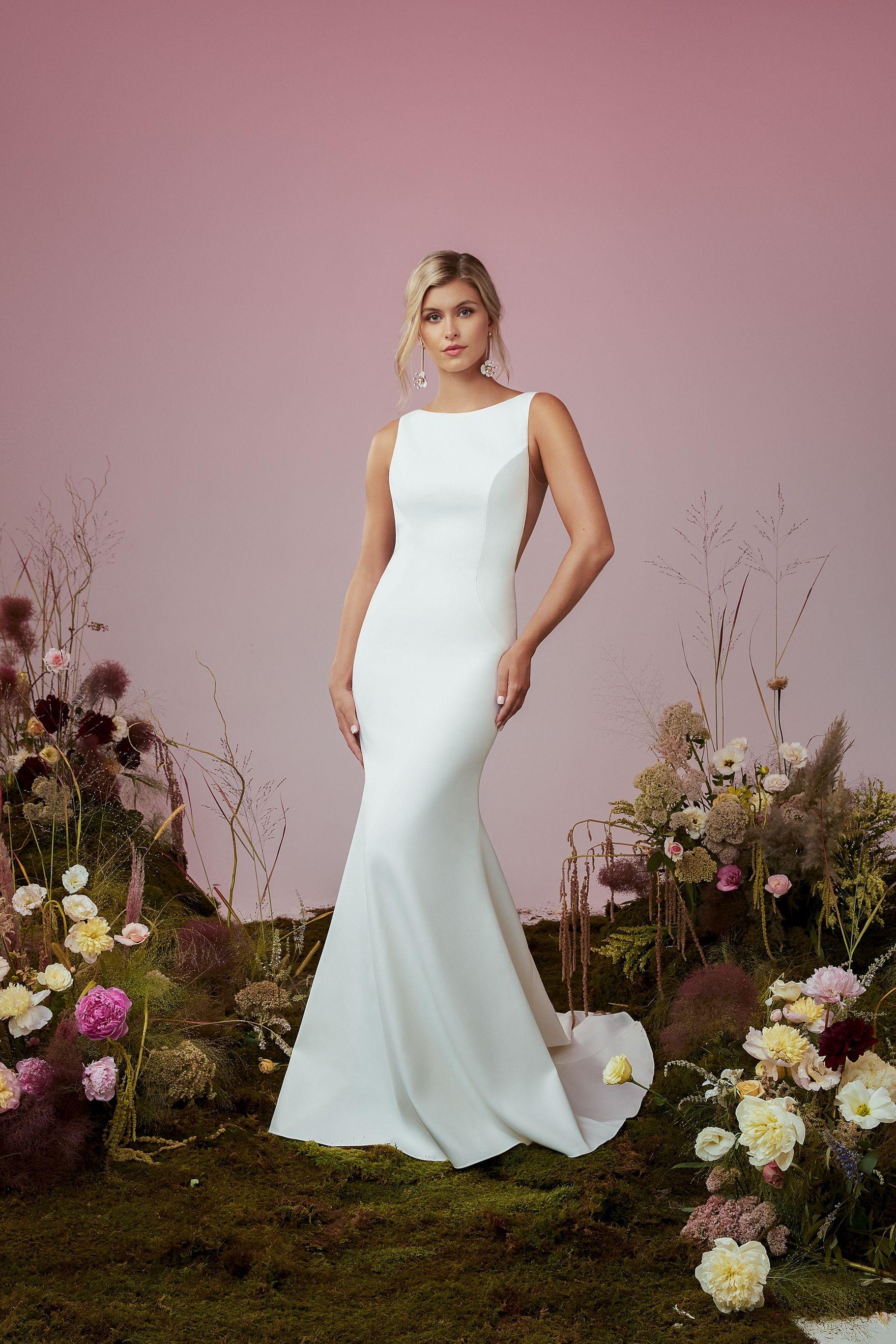 Simple Crepe Bateau Wedding Dress By Blue Willow Bride Wedding Dress Necklines Simple Wedding Gowns Wedding Dresses [ 2733 x 1823 Pixel ]