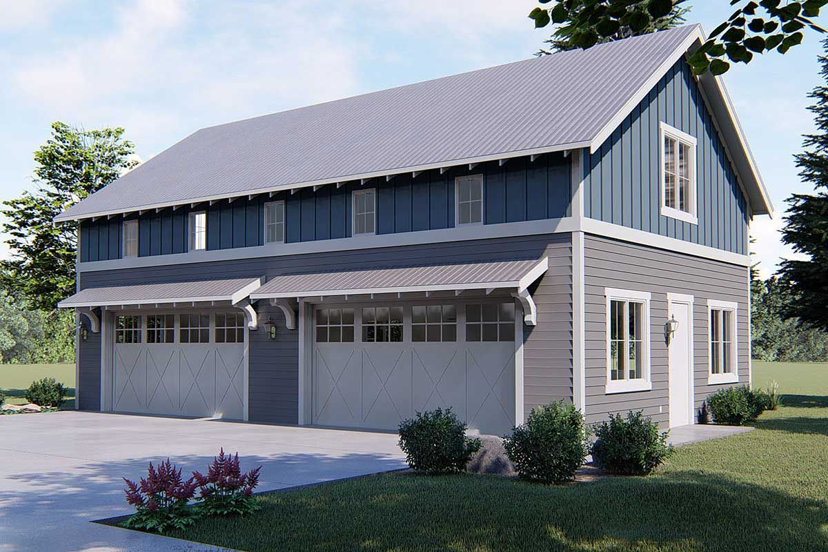 Plan 62593dj 4 Car Garage With Indoor Basketball Court Modern Farmhouse Plans Carriage House Plans House Plans Farmhouse