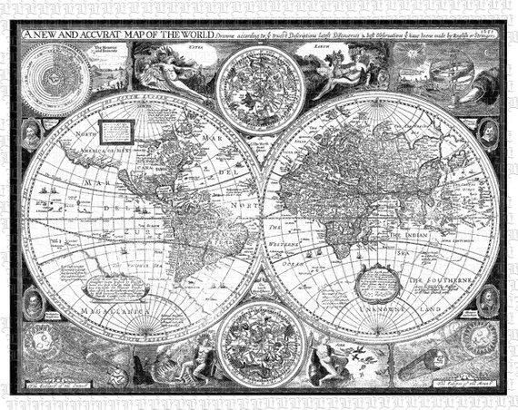 World Map Ancient Cartographic Illustrations Antique Vintage Clip