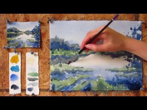 Intermediate Step By Step Watercolor Tutorial Painting A Lake