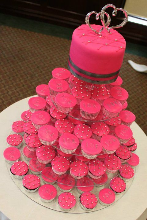 Silver And Hot Pink Wedding Cake And Cupcake Tower 2011 My Wedding