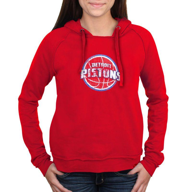 Detroit Pistons New Era Women's Core Team Glitter Logo Pullover Hoodie – Red