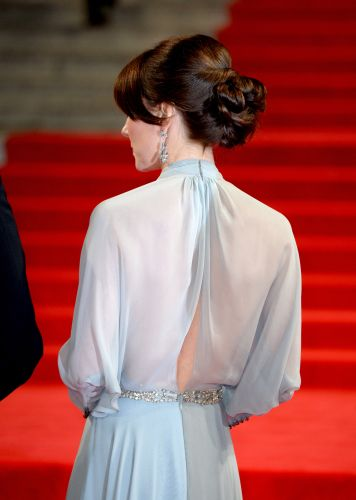 Details of the back of Kate's Jenny Packham gown, paired with an elegant updo. via @AOL_Lifestyle Read more: http://www.aol.com/article/2015/10/26/the-duchess-of-cambridge-is-the-picture-of-elegance-in-pale-blue/21254230/?a_dgi=aolshare_pinterest#slide=3677834|fullscreen