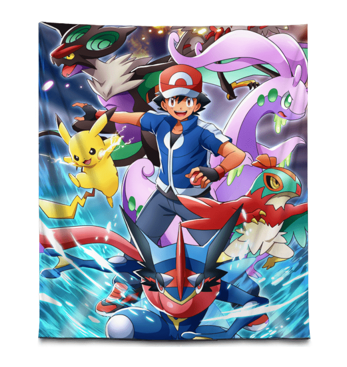 Pokemon Tapestry Kalos Region Pokemon Anime Gift - 68x80 Tapestry - Vertical / White
