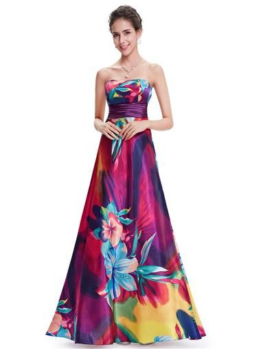 e57c1b725 Vestido largo floral con vuelo escote descubierto