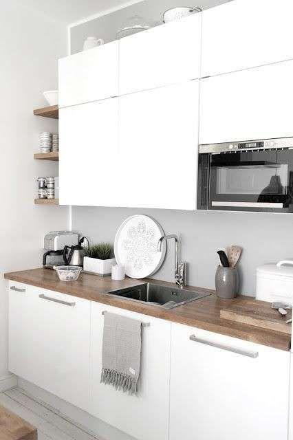 Risultati immagini per cucina bianca piano legno | Cucina | Cucina ...