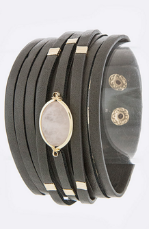 Stone and Leather Cuff   SexyModest Boutique