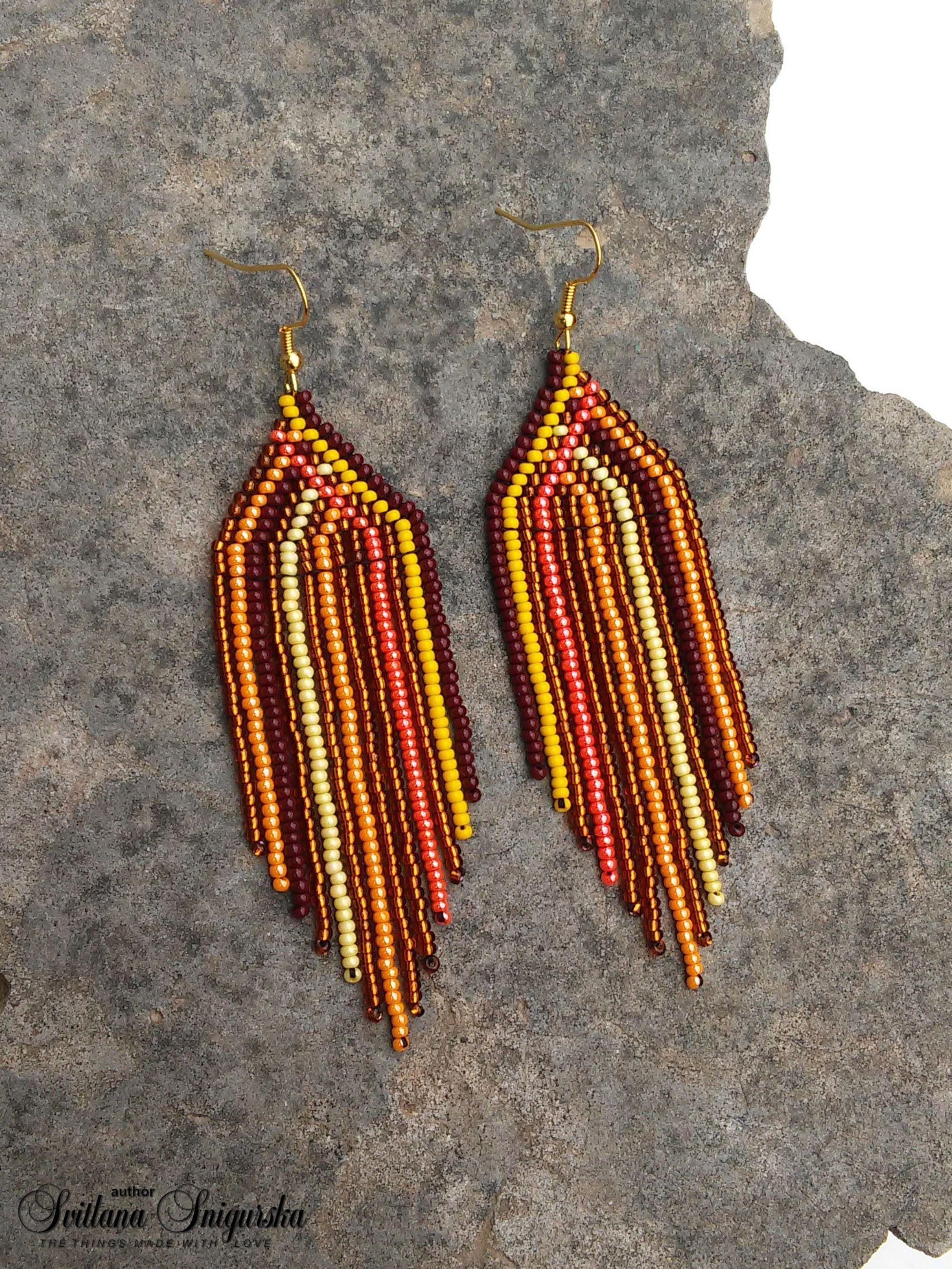 Bohemian Earrings Dangle Earrings Brown Earrings Statement Earrings White Crochet Earrings Boho Earrings Beaded Earrings