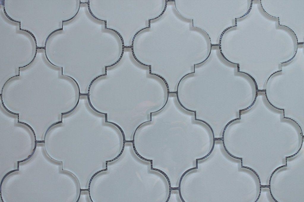 Snow White Arabesque Glass Mosaic Tiles Snow