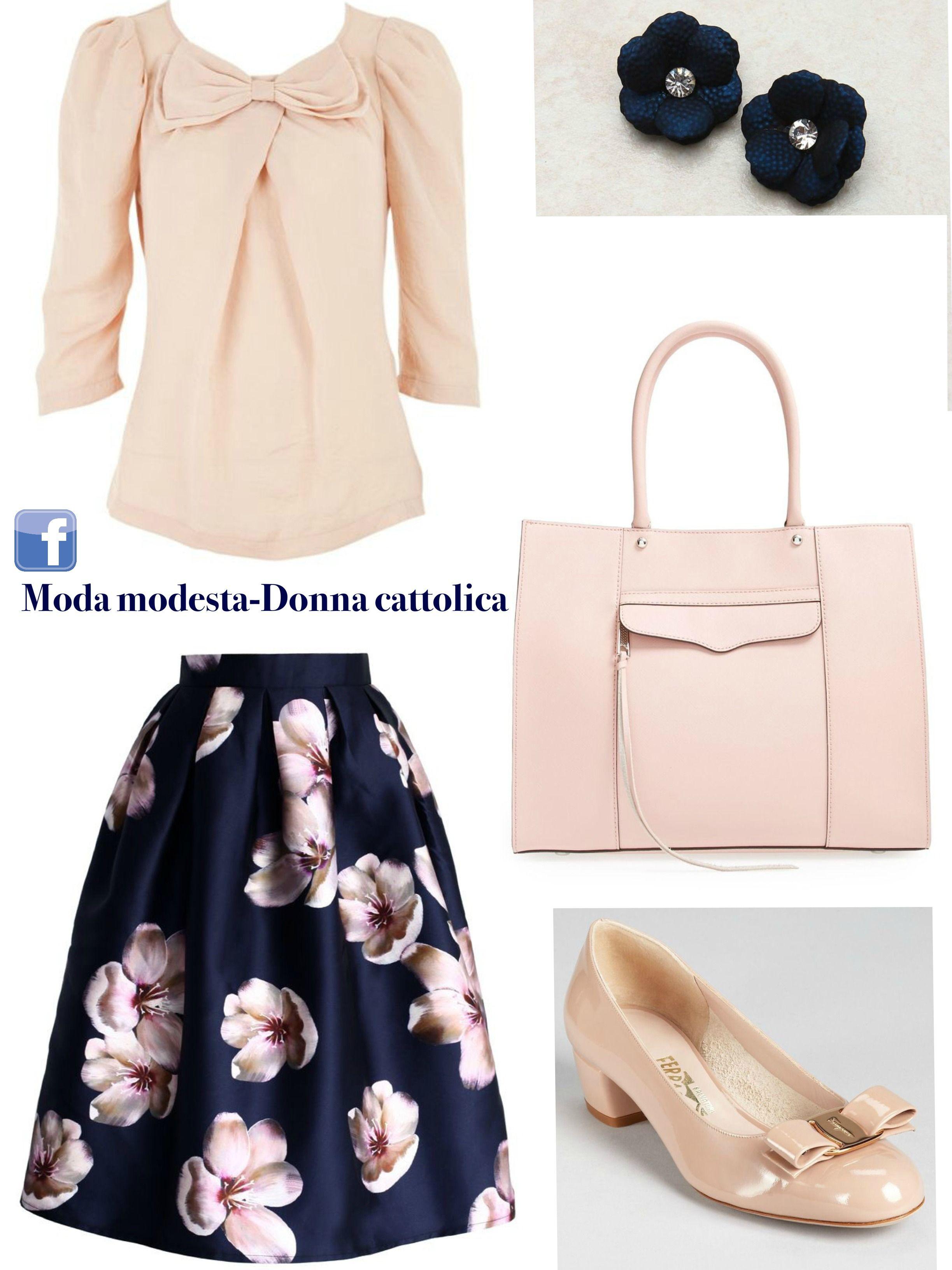 Look modesto e femminile!  rosa  rose  fiocco  gonna  blusa  scarpe   ballerine  orecchini  blu  fiori  romantico  modestia  modesto  look   outfit  skirt ... 2bae8d86abc