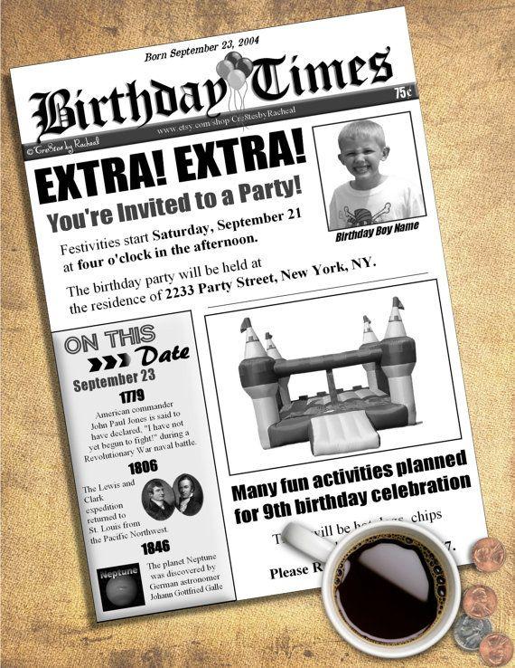 Newspaper birthday invitation diy printable by cre8tesbyracheal newspaper birthday invitation diy printable by cre8tesbyracheal stopboris Images