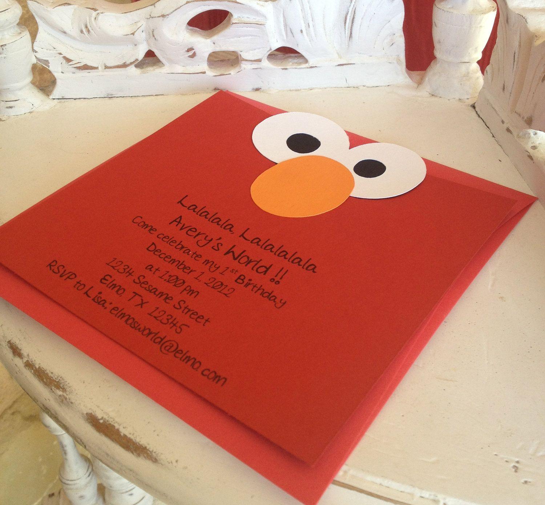 Handmade Custom Elmo Invitations With Envelopes Set Of 10 2500 Via Etsy