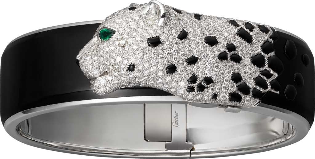 White gold, black lacquer, emeralds, onyx, diamonds