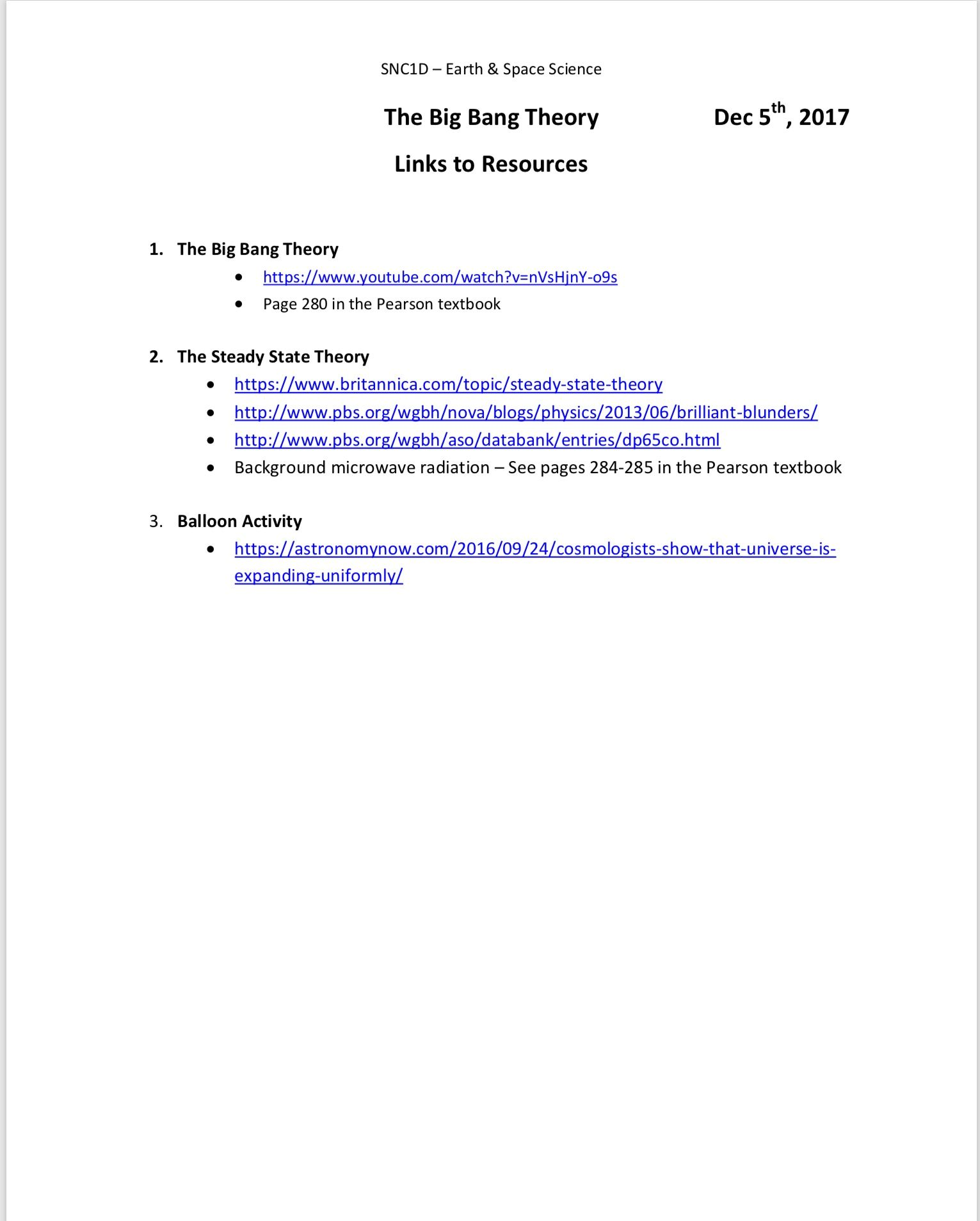worksheet How The Universe Works Big Bang Worksheet the big bang theory links to resources december 52017 snc1d 52017