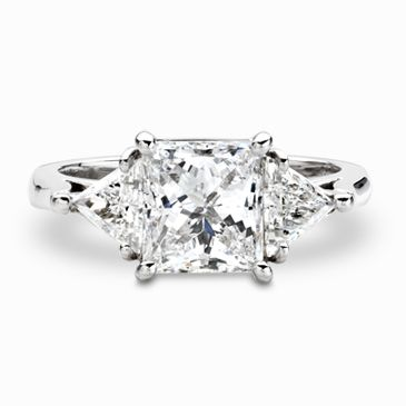 289ca16da1b65 Princess Cut Platinum Diamond Ring with Trillion Cut Diamonds ...