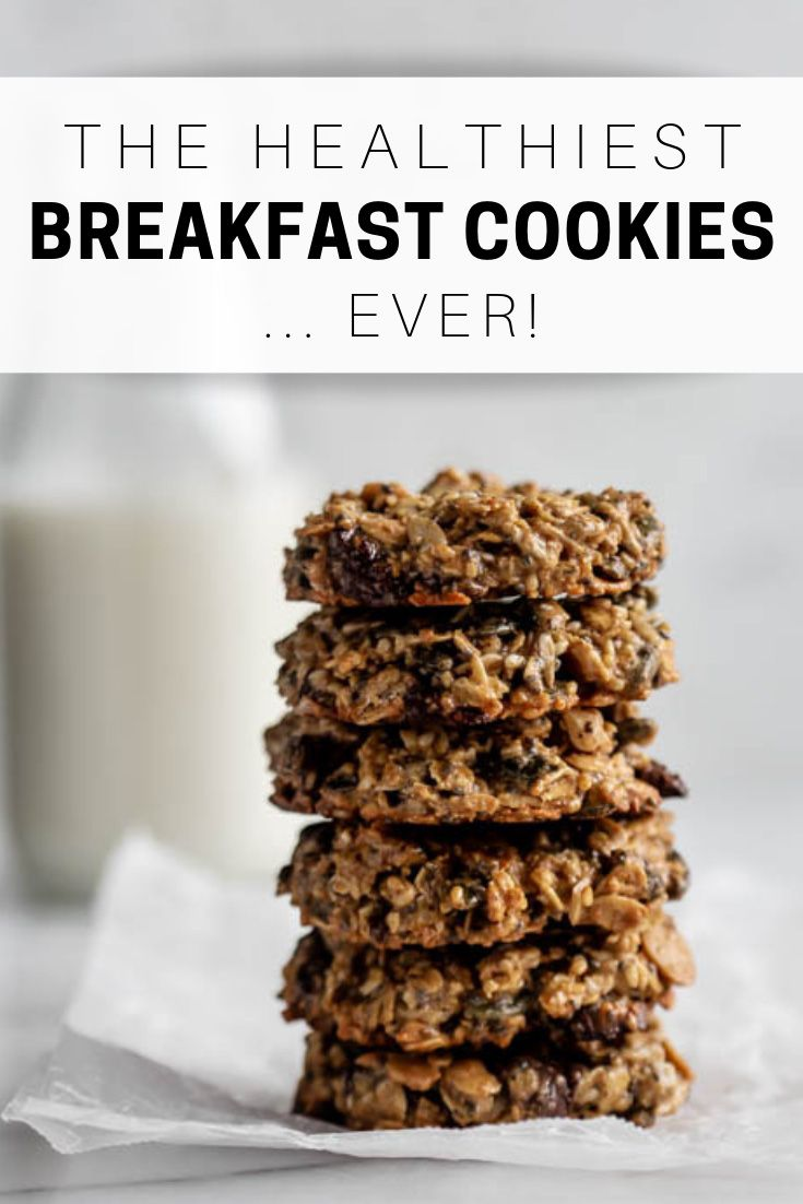breakfast cookies #breakfast Say hello to the healthiest breakfast cookies...ever! Theyre made with whole grains, nuts and seeds for a delicious cookie that is refined sugar-free and has a vegan option! #breakfastcookies #cookierecipes #healthycookies #choosingchia