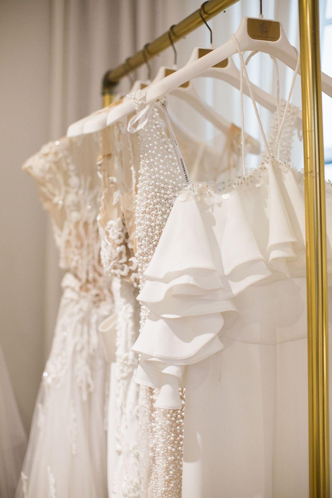 Dress Details At The Lee Grebenau Spina Bride Flagship Store In Nyc Bridal Gowns Wedding Dresses One Shoulder Wedding Dress