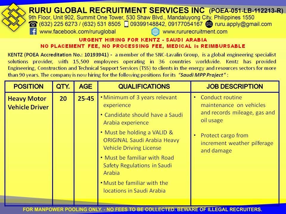 Kentz Saudi Arabia hiring for Heavy Motor Vehicle Driver