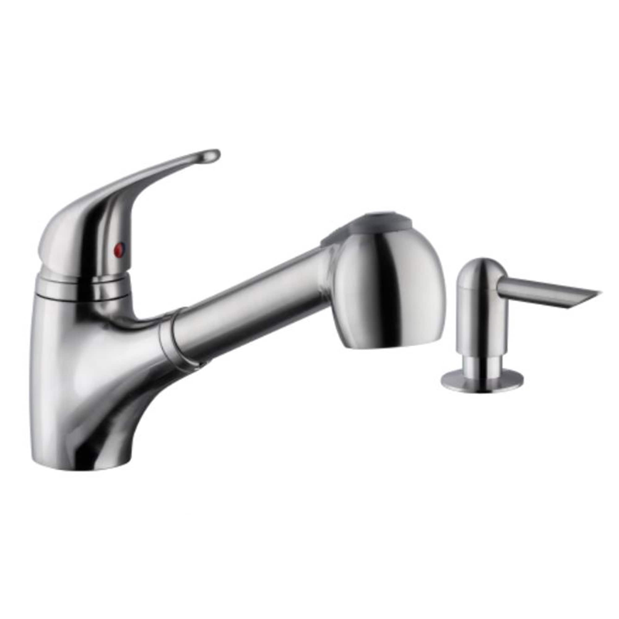 Low Profile Pull Out Kitchen Faucet With Dispenser In Brushed