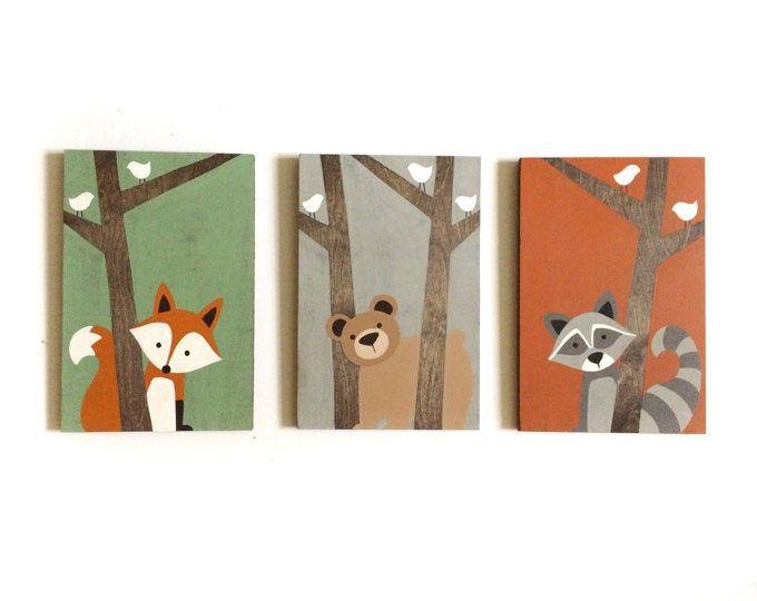 Woodland Nursery Art Arte dell'asilo nido – Nursery Wall Art – Fox Decor – Forest Friends Nursery – Woodland Animals Nursery – Segni di legno – Creature Boschive